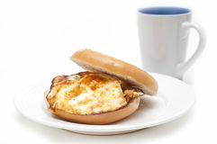 Bagel with eggs breakfast Royalty Free Stock Images