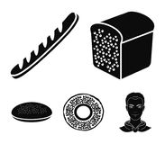 A bagel, half a loaf, a French loaf, a pie billet. Bread set collection icons in black style vector symbol stock. Illustration stock illustration