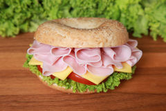 Bagel with ham Royalty Free Stock Photography