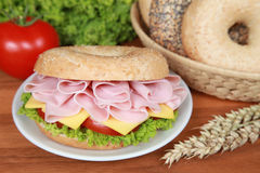 Bagel with ham Stock Image