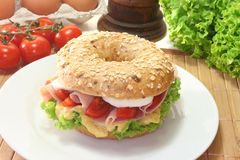 Bagel with ham and egg Royalty Free Stock Photo
