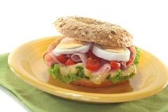 Bagel with ham and egg Royalty Free Stock Images