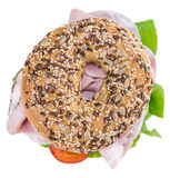 Bagel with Ham (isolated on white) Stock Photography