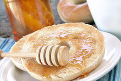 Bagel and Honey Royalty Free Stock Photography