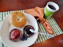 Bagel with jelly and coffee Stock Photo