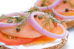 Bagel and Lox. Smoked salmon, cream cheese, tomato, red onion, capers and dill Stock Image