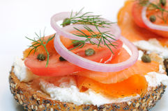 Bagel and Lox. Everything bagel and lox. Smoked salmon, cream cheese, tomato, red onion, capers and dill Stock Image