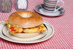 Bagel and Omelet sandwich close up Royalty Free Stock Photo