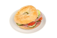 Bagel on plate Royalty Free Stock Photos
