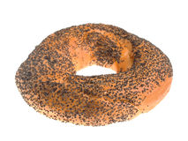 Bagel with poppy seeds. Isolated on white stock images