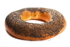 Bagel with poppy seeds isolated on white background Royalty Free Stock Photo