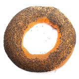 Bagel with poppy seeds isolated on white background Stock Images
