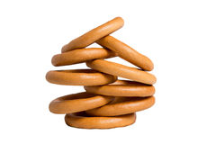 Bagel pyramid. Pyramid of bagles isolated on white Royalty Free Stock Photo