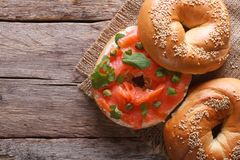 Bagel with red fish and soft cheese top view horizontal Stock Image