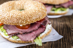 Bagel with Roast Beef. Fresh made Bagel with meadium grilled Roast Beef (selective focus royalty free stock photo