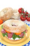 Bagel with salami Royalty Free Stock Photo
