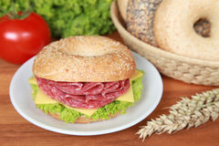 Bagel with salami. Fresh bagel with salami, cheese and lettuce stock photos