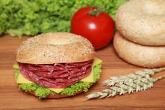 Bagel with salami Stock Image