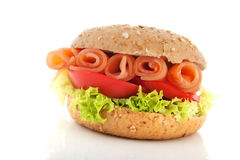 Bagel with salmon Royalty Free Stock Images