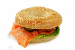 Bagel with salmon Royalty Free Stock Image