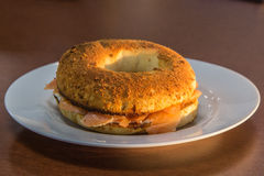 Bagel with salmon and cheese Royalty Free Stock Photography