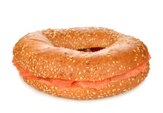 Bagel with salmon Stock Images