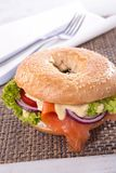 Bagel with salmon Stock Photography