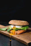 Bagel with salmon and egg Royalty Free Stock Photos