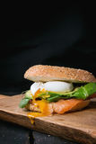 Bagel with salmon and egg Stock Photo
