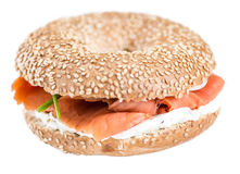 Bagel with Salmon. Fresh made Bagel with Salmon (selective focus; detailed close-up shot royalty free stock image