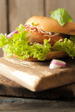 bagel with salmon and germinated sprouts pink salt Stock Photos