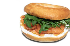 Bagel with salmon and rucola stock photography