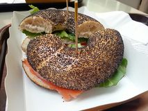 Bagel of salmon with salad mixed, French food, France Royalty Free Stock Photography