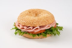 Bagel sandwich with ham Stock Photos