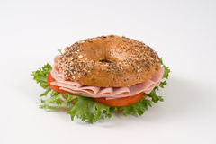 Bagel sandwich with ham Royalty Free Stock Photos