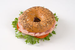 Bagel sandwich with ham Stock Photo