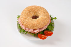 Bagel sandwich with ham Royalty Free Stock Photography
