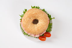 Bagel sandwich with ham Royalty Free Stock Image