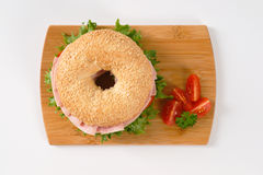 Bagel sandwich with ham Royalty Free Stock Photo