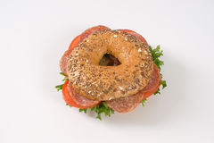 Bagel sandwich with salami Stock Images