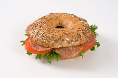 Bagel sandwich with salami Stock Photo