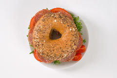 Bagel sandwich with salami Royalty Free Stock Images