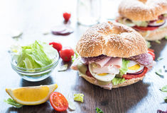 Bagel sandwich with turkey breast Royalty Free Stock Photos