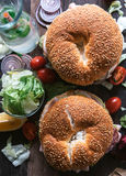 Bagel sandwiches from above Royalty Free Stock Photos