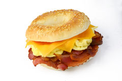 Bagel with scrambledd egg, bacon and cheddar cheese Stock Image
