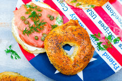 Bagel  with a smoked salmon and cream cheese Stock Photos