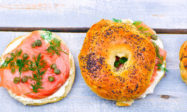 Bagel  with a smoked salmon and cream cheese Royalty Free Stock Photography