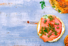 Bagel  with a smoked salmon and cream cheese Royalty Free Stock Photo