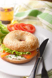 Bagel with Smoked Salmon Royalty Free Stock Photos