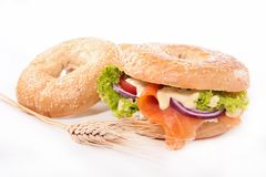 Bagel with smoked salmon Royalty Free Stock Images